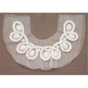 China Handmade Customized White Applique Plastic Beaded Collar Neckpiece on sale