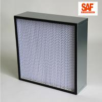 Buy cheap Deep Pleat High Efficiency Media Filter , Galvanized Frame H14 Hepa Filter product
