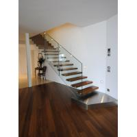 Buy cheap Suspend glass railing wood open riser staircases product