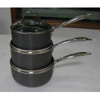 20cm Stamped Hard Anodized Non Stick Milk Pan With Glass