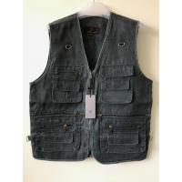 Buy cheap Mens classic vest in 100% polyester washed fabric, washed blue color, S-3XL product