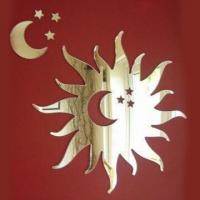 China Sun/Moon/Stars Laser Cut Acrylic Mirror for Home Decoration on sale