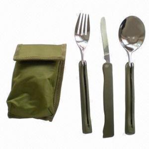 Располагаясь лагерем столовый прибор набор повара установил/складывать, включая нож, вилку и ложку