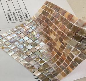China Brown Square Seashell Mosaic Wall Tile , Mother Of Pearl Mosaic Tile Backsplash on sale