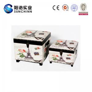 Buy cheap L'unité centrale garnissent en cuir imprimer le tabouret d'Ottoman//le tronc en bois boîte de stockage product