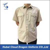 Quality 100% Cotton Khaki Police Security Guard Shirts Short Sleeve Slim Fit For Men for sale