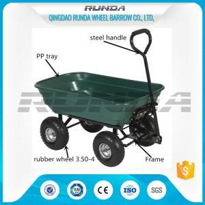 Buy cheap Outdoor Dumper 4 Wheel Garden Cart Trolley Plastic Side Panels TC2145 For Farmer product