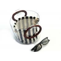 Canvas Round Shape Navy Blue Clutch Bag Stripe Pattern With Wood Handle 0.8 MM