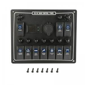 Buy cheap 10 Gang Waterproof Auto Boat Marine LED AC/DC Rocker Switch Panel Dual Power product