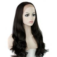 Buy cheap Natural Straight Heat Resistant Fiber Synthetic Hair Wigs Lace Front With Dark Brown product