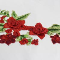 Buy cheap 34*18 CM Red Flower Embroidered Applique Patches For DIY Dress Decorative product