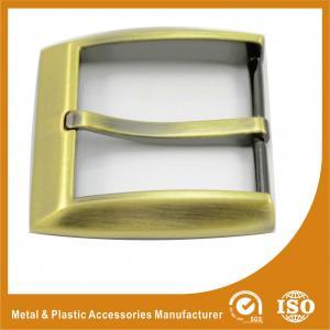 Single Pin Customized Belt Buckles Zinc Alloy Metal Laser Logo 35MM GLT-12003