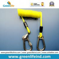 China Reinforced Yellow Carabiner Coil Lanyard Tether for Tools Safety on sale