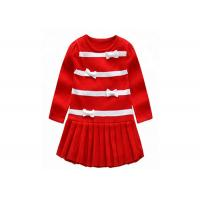 China Long Winter Baby Girl Sweater Dress , Toddler Red Sweater O Neck Collar on sale