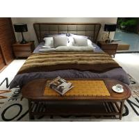 Buy cheap 2017 New design of  Fabric Upholstered headboard Bed by Walnut wood frame for Fashion Apartment  bedroom furniture use product
