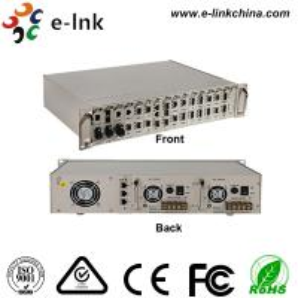 Quality Centralized Manageable Ethernet Fiber Media Converter , 16 Slots Fiber Optic Media Converter for sale