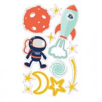 Buy cheap Glow In The Dark Wall Stickers Cartoon Astronaut Moon Design Kids Room Wall Decoration product