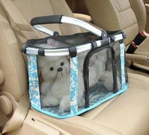 China Metal handle pets carrier, pets baskets bag, mesh dog bag on sale