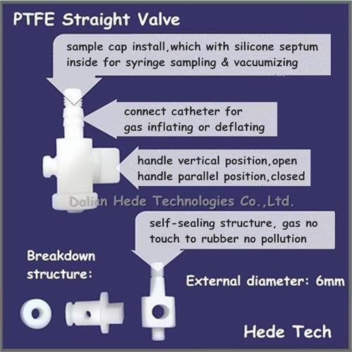 DEVEX gas sampling bags with PTFE straight valve with silicone septum for syringe sampling DEV71_0.5L air sample bag