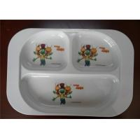 China Professional Bulk Dinner Melamine Plastic Plates Three Holes White Color For Hotel wholesale