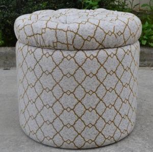 Buy cheap Siège tufté provincial français d'Ottoman de tissu de vente en gros de meubles, Ottoman rond product