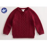 Buy cheap Multi Cable Knitting Girls Long Sleeve Sweaters , Girls Red Sweater Side Slit product