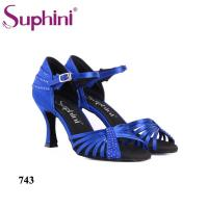 China Purple satin rhinestones high heel rumba chacha dance shoes on sale