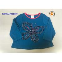 Butterfly Applique Toddler Long Sleeve T Shirts , 100% Cotton Baby Tee Shirts
