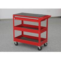 China Workshop Storage 2 Layer Red Metal Tool Cart On Wheels With One Drawer on sale