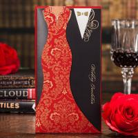 Buy cheap Hot Red Black Groom and Bride Wedding Invitations Cards with Envelopes and Seals, Wholesale Available product