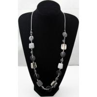 China wax cord necklace with wood and plastic beads on sale