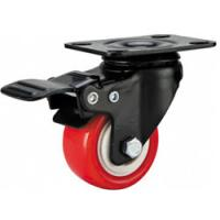 """Buy cheap light duty 2"""" swivel red PU caster with brake, 2.5 inch, 3 inch PU castor with brake ,PU caster black lacque product"""