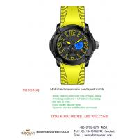 China 43.0mm luxury mens watches / silicon band multifunction wrist watch 5ATM on sale