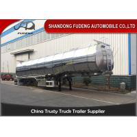 Quality Flammable Fuel Tanker Truck 25000 L , Fuel Tank Trailer With 3 Compartments for sale