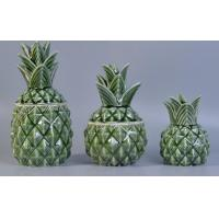 Buy cheap 230ml green pineapple ceramic reed diffuser bottles with leaf lid for home deco product