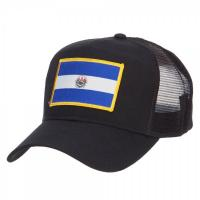 Buy cheap El Salvador Flag Patched Embroidered Mesh Hats , Black Polyester Trucker Hat product