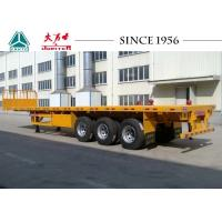 Buy cheap 40 Tons 3 Axle Semi Flatbed Trailer , Flat Deck Trailer With Front Wall from wholesalers