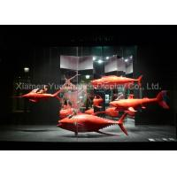 Custom Red Color Fiberglass Fish Statues Normal Painting Surface Design