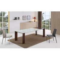 Buy cheap dining table optical white tempered glass MDF with walnut veneer product