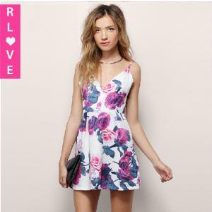 China European fashion big flower print dresses suspenders sleeveless V-neck halter waist dress on sale