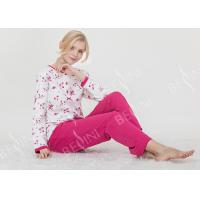 China Large Floral Printed Womens Pyjama Sets 100% Combed Cotton Interlock Material on sale