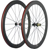 Straight Pull Hubs Clincher Tubular Wheelset 50mm 23mm Width V Shaped Rims