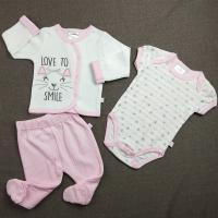 China Pink Newborn Baby Clothes Set Cute Pattern Baby Girl 3pcs Children Clothes Outfits on sale