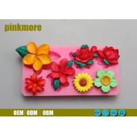 China Portable Rectangle Handmade Silicone Flower Molds For Fondant Cake Decorating wholesale