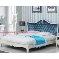 Buy cheap Neoclassical design Luxury Furniture Fabric Upholstery headboard King Bed with Crystal Pull buckle Decoration product