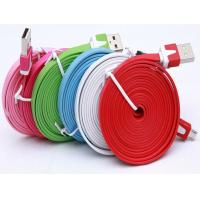 China 1M 3m data cable Noodle Flat USB 2.0 usb cable usb charging cables for iphone 5 6s plus S6 wholesale