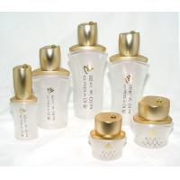 Buy cheap OEM White frosted  Cosmetic Packaging Glass Bottles and Jars with cap and pump from wholesalers
