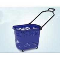 Durable Rolling Plastic Shopping Basket With Wheels OEM / ODM Available