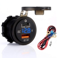 Buy cheap Quick Charger 3.0 Socket + Type C Output w/Blue led Voltmeter for Car, Marine, Boat product