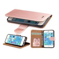Buy cheap Rose Gold Leather Wallet Case For iPhone 5 5S SE , iphone Leather Case Luxury product